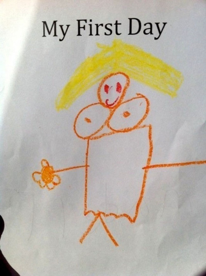 35 Funny Drawings from Kids - He wanted to bring home a drawing of his teacher.