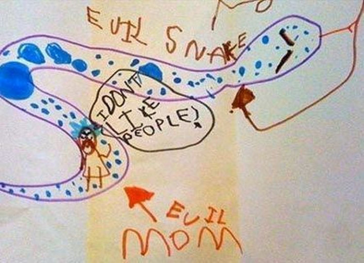 35 Funny Drawings from Kids - An evil snake eating his evil mom. A cry for help?