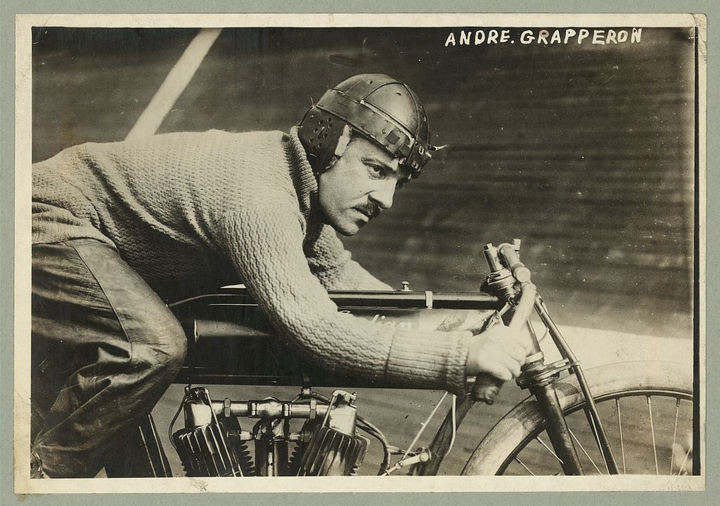 35 Rare Historical Photos - 1913: André Grapperon, French champion motorcyclist, rides his 1912 Indian Board Track V-twin.