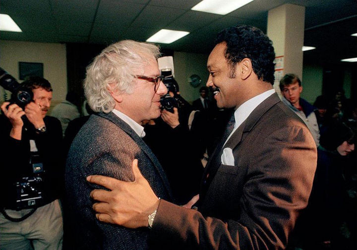 35 Rare Historical Photos - 1989: Then mayor Bernie Sanders meets with Jessie Jackson in Montpelier, Vermont in 1989. Sanders had endorsed Jackson for president during the 1988 election.