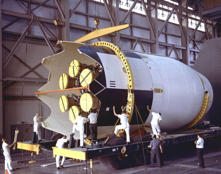 35 Rare Historical Photos - November 1st, 1964: Saturn I S-IV (second stage) assembly for the SA-9 mission undergoing some weight and balance tests at Cape Canaveral.