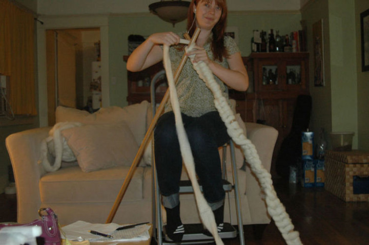 "She originally created ""knitting needles"" with broomsticks but found the gauge was too tight."