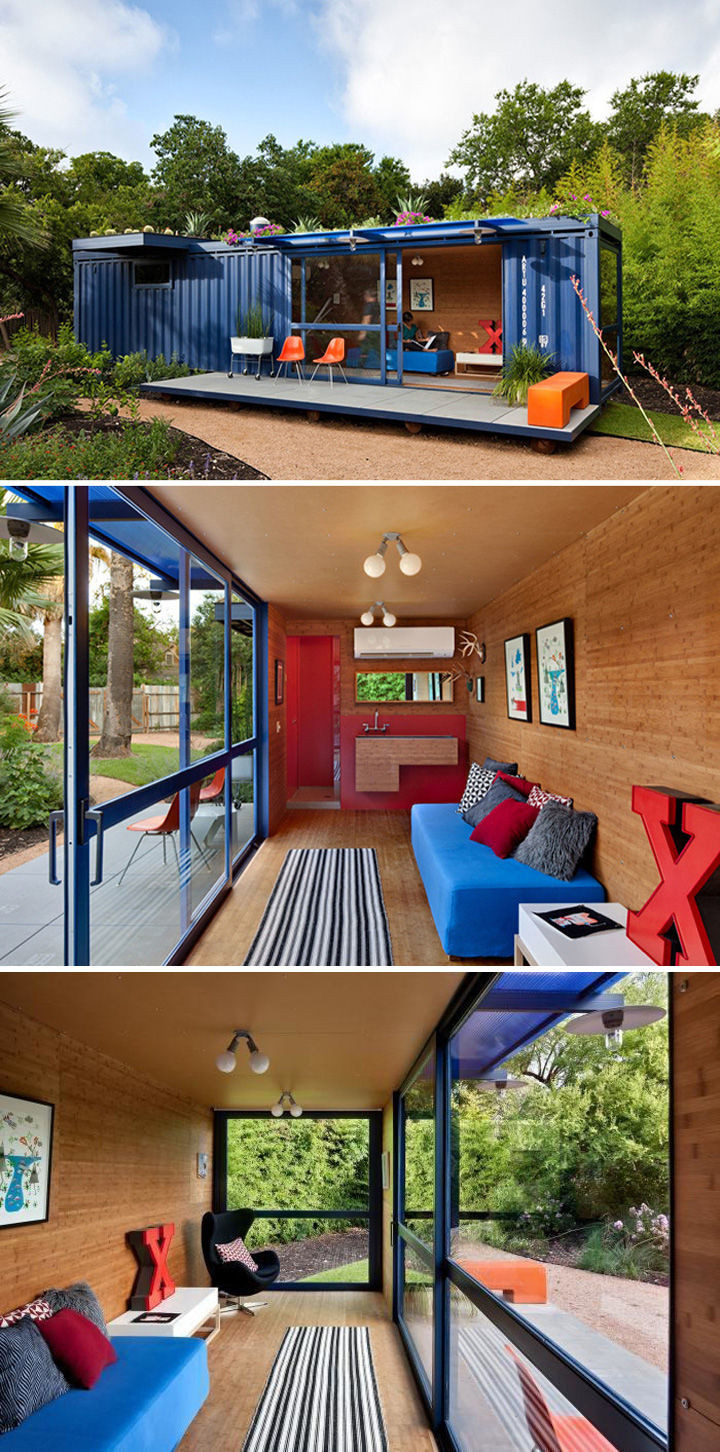 A colorful 360-square-foot San Antonio guest house designed byPoteet Architects.