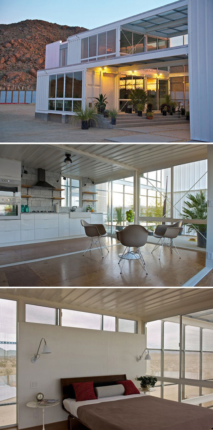 Built anddesigned byEctotech Design, this shipping container home in the Mojave Desert features over 2,300 square feet of living space.