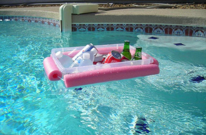 12+ Pool Noodle Hacks - All you need is a pool noodle, a plastic container, and some waterproof nylon rope to make this DIY floating beverage container.