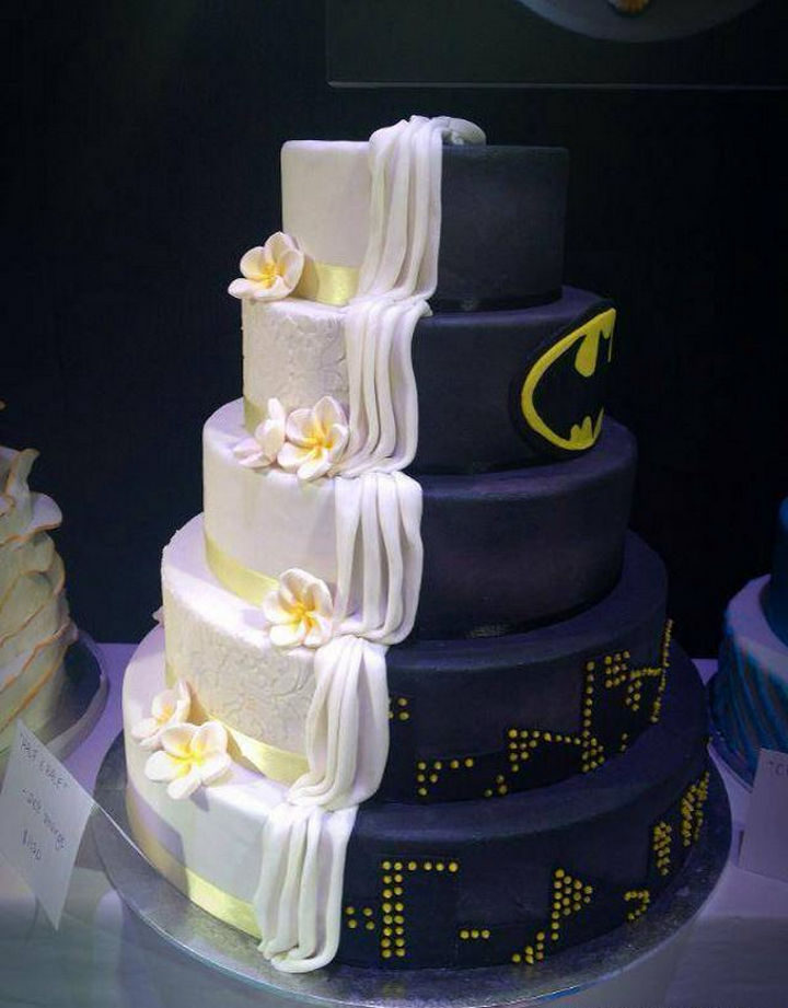 12 Him and Her Wedding Cake Ideas - This bride married a Batman fan and shares his love.