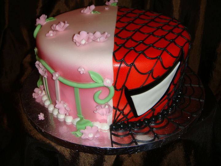 12 Him and Her Wedding Cake Ideas - Spider-man reveals himself in this wedding cake.