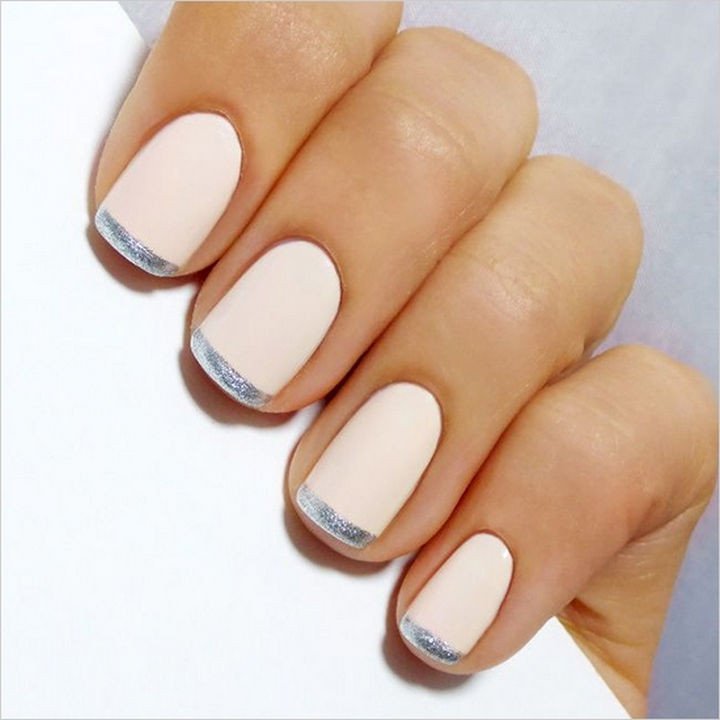 18 Perfect Wedding Nails - Striking metallic French manicure.