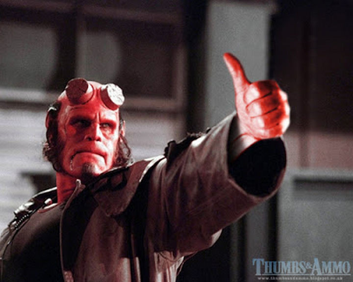 23 Movie Action Scenes Where Guns Were Replaced with a Thumbs-Up - 'Hellboy'