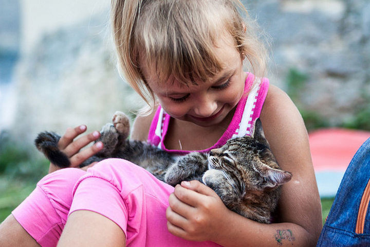 46 Happy Images - This little girl snuggling her best friend.