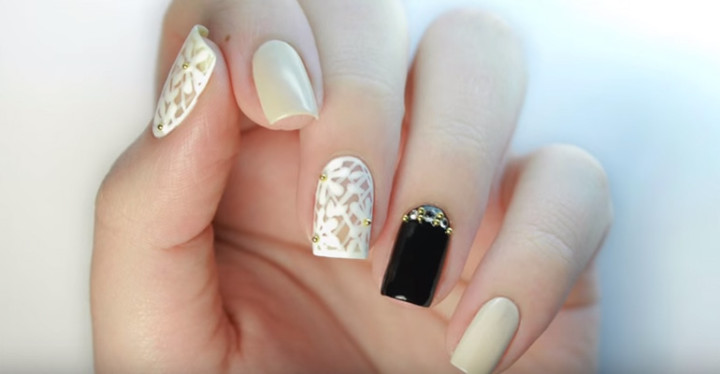 Floral Lace Prom Nails Art Design Video Tutorial.