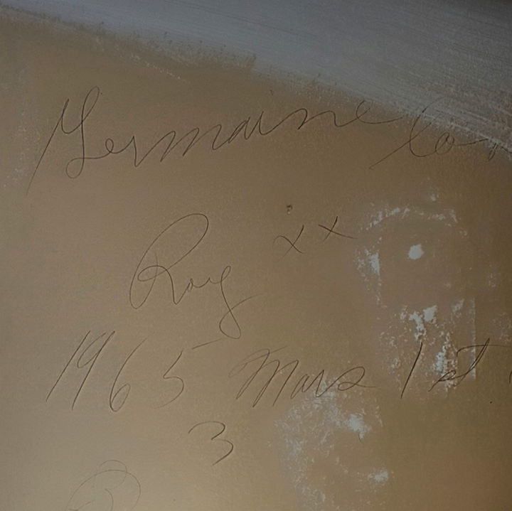"Woman Discovers 51-Year-Old Love Note on a Piece of Drywall - The love note reads, ""Germaine loves Roy xx 1965, March 1st."""