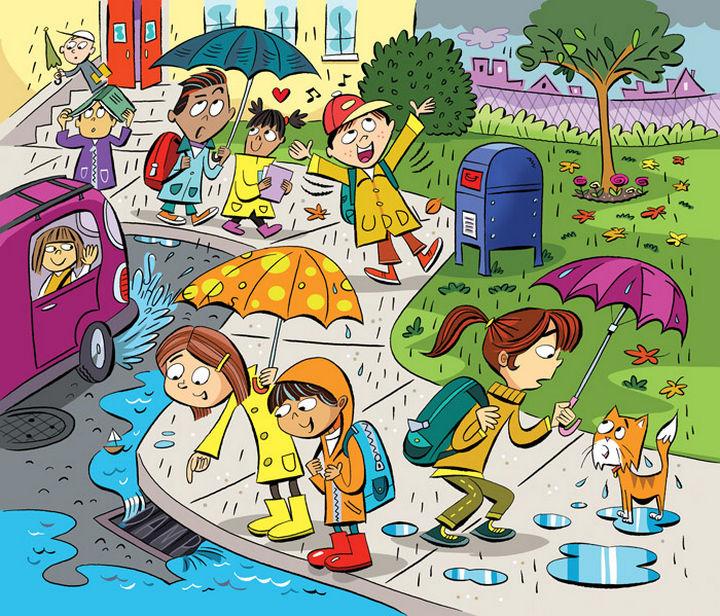 "Highlights Hidden Pictures Puzzles - Find 6 hidden words in ""Fun in the rain."""