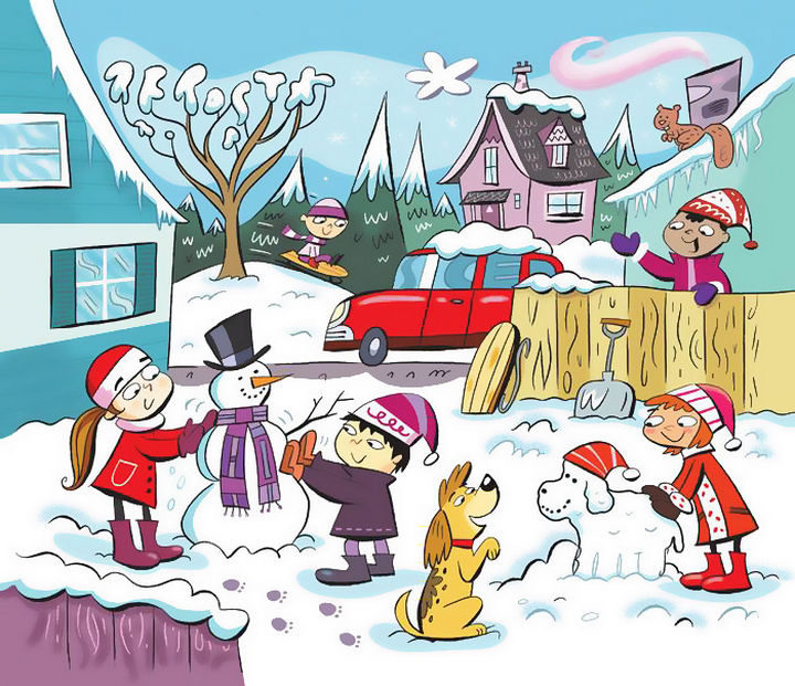"""Highlights Hidden Pictures Puzzles - Find 6 hidden words in """"Snow day."""""""
