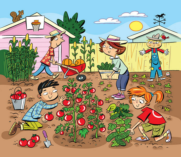 "Highlights Hidden Pictures Puzzles - Find 6 hidden words in ""Gardening fun."""
