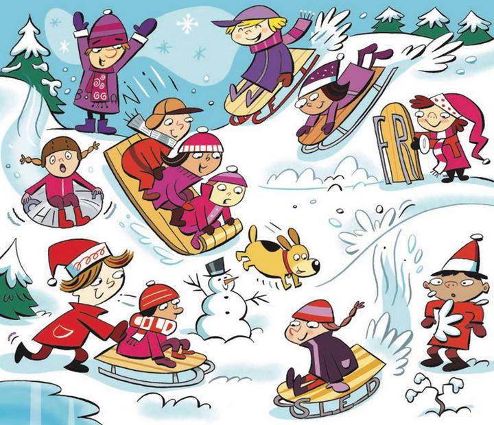 "Highlights Hidden Pictures Puzzles - Find 6 hidden words in ""Winter wonderland."""