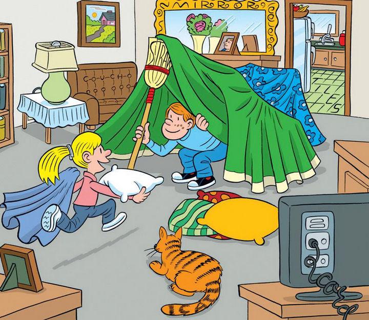 """Highlights Hidden Pictures Puzzles - Find 6 hidden words in """"Indoor fort."""""""