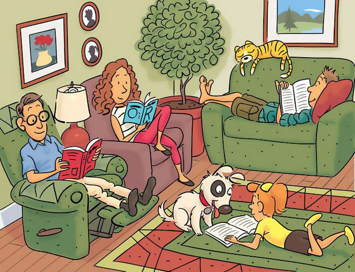 "Highlights Hidden Pictures Puzzles - Find 6 hidden words in ""Relaxing day reading at home."""
