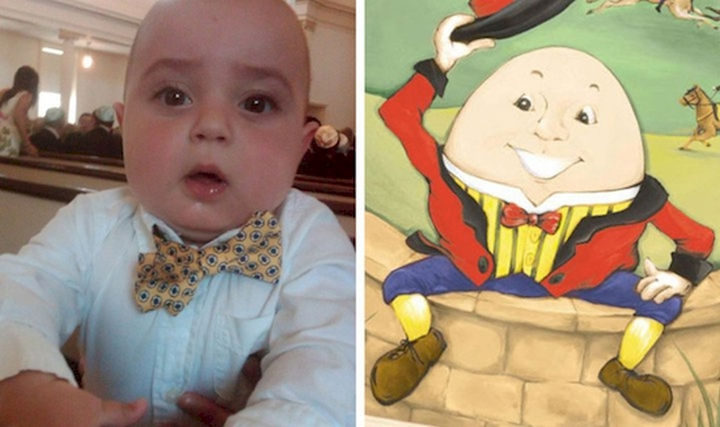 13 Babies That Resemble Celebrities or Something Else - I'm sure he'll be a Humpty Dumpty fan when he grows up. They both love ties!