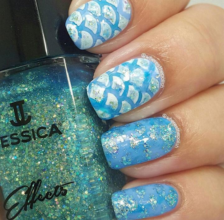 13 Mermaid Nails - Beautiful mix and match mermaid nails.