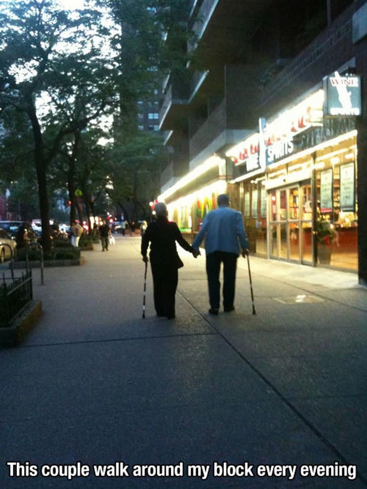 15 Incredible Photos Will Warm Your Heart - An elderly couple going for a walk every single night.