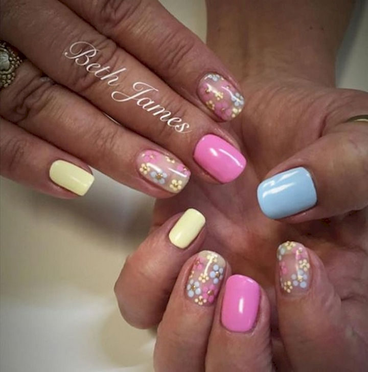 Solid glossy pastels with pretty flower accents.