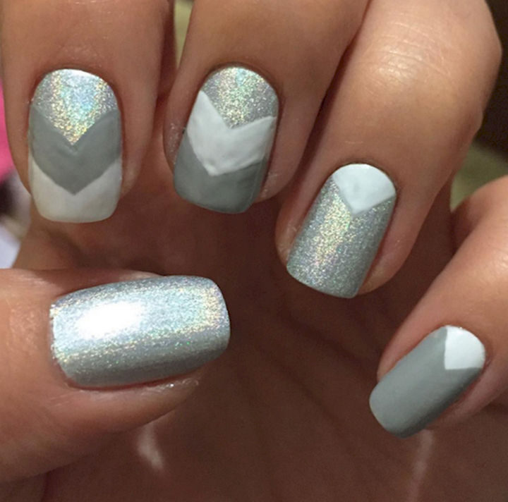 17 Chevron Nails - Holographic chevron nails.