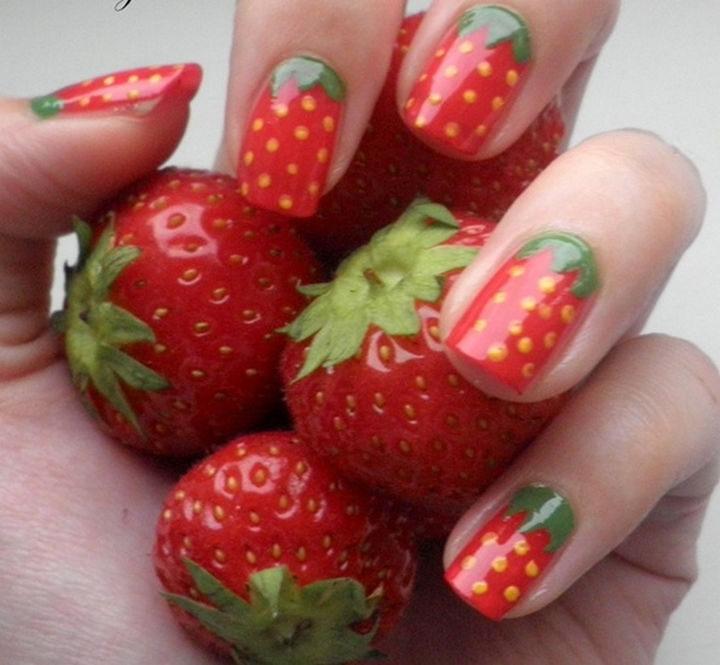 17 Fruit Nails - Strawberry fruit nails.