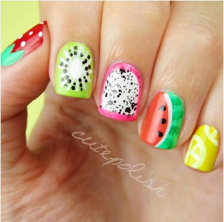 17 Fruit Nails - Summer fruit nail art designs.