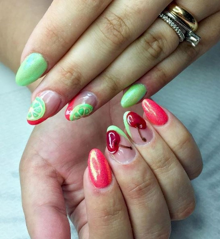 17 Fruit Nails - Cherry and lime are looking so fine!