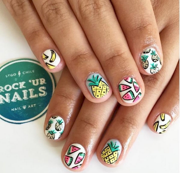 17 Fruit Nails - Fruit nail art with a colorful art style.