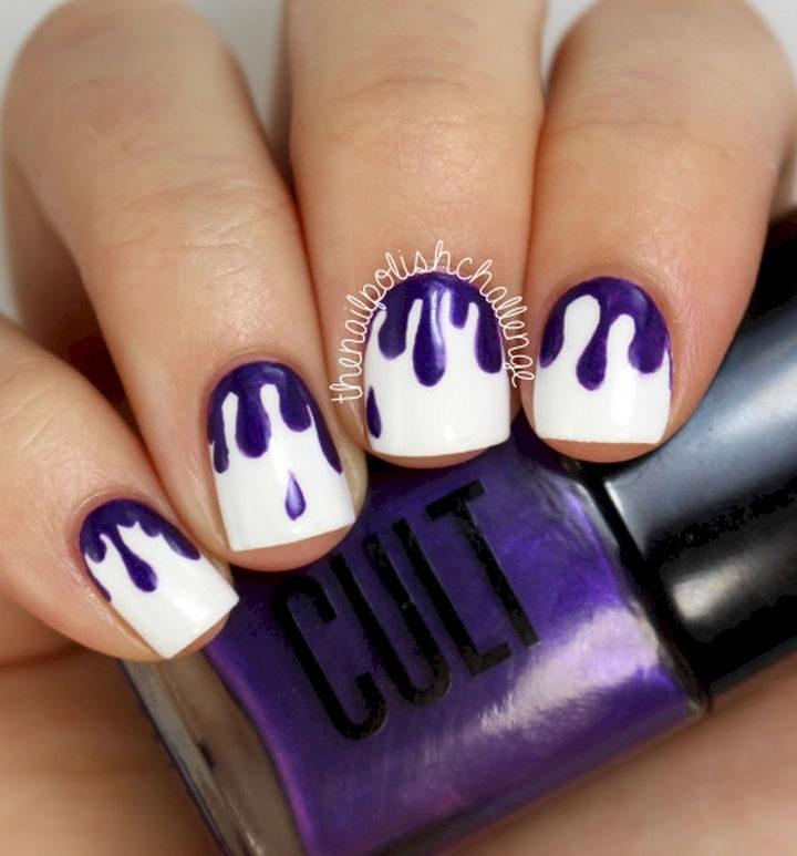 19 Purple Nails - A unique drip manicure.