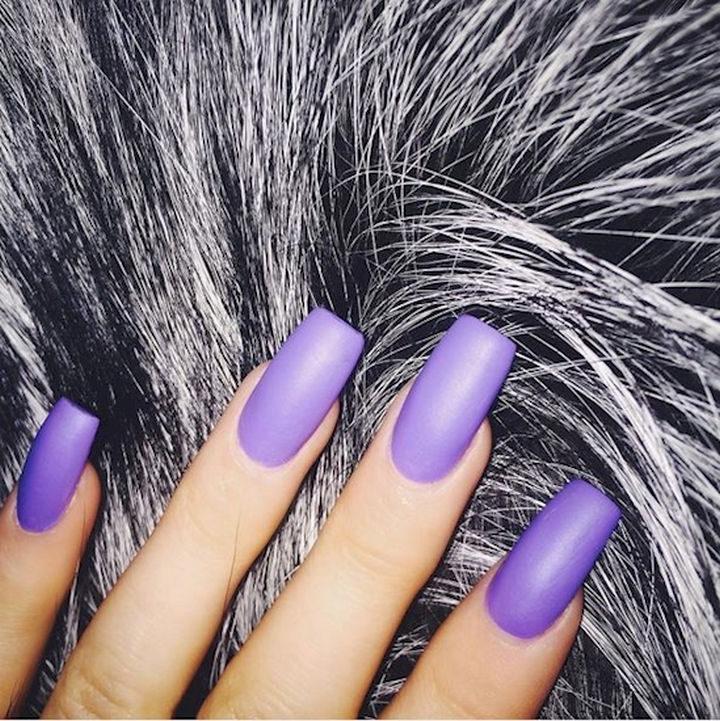 19 Purple Nails - Striking matte purple nails.