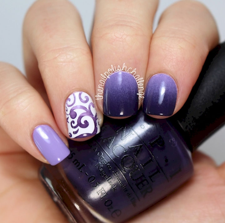 These creative purple nails look so great!