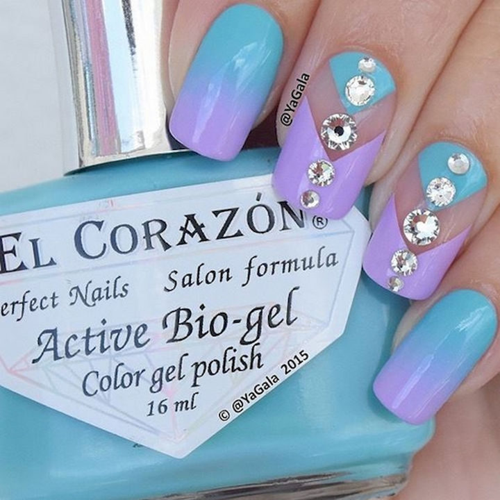 Gorgeous ombre nails with a touch of crystals.