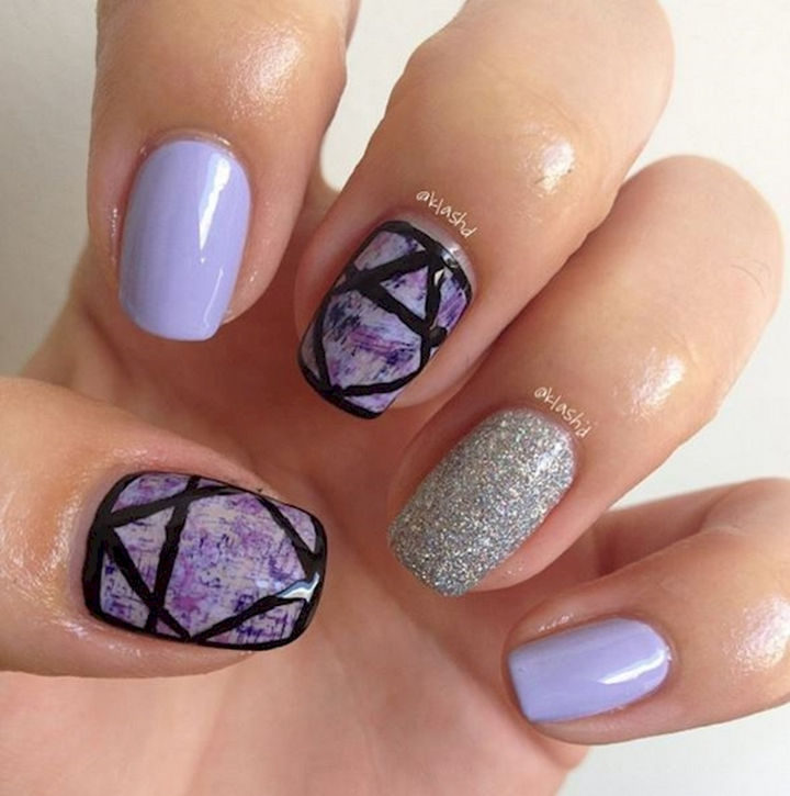 19 Purple Nails - Sporting some geometric designs.