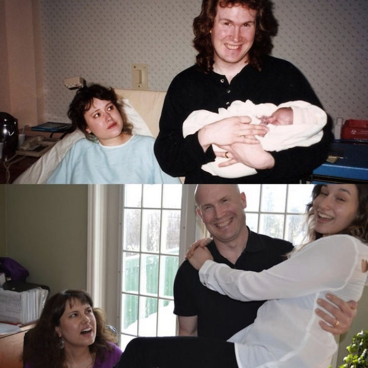23 Then Now Photos - Dad holding his daughter 17 years later.