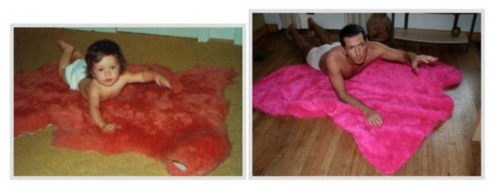 23 Then Now Photos - Having fun again on the rug.