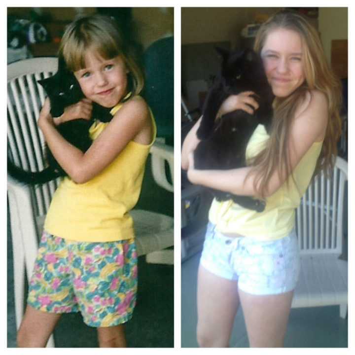 23 Then Now Photos - Growing up with her favorite cat.