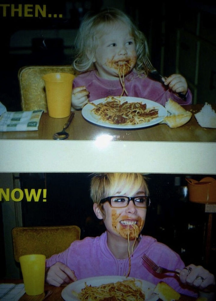 23 Then Now Photos - She still REALLY enjoys spaghetti. Cute!