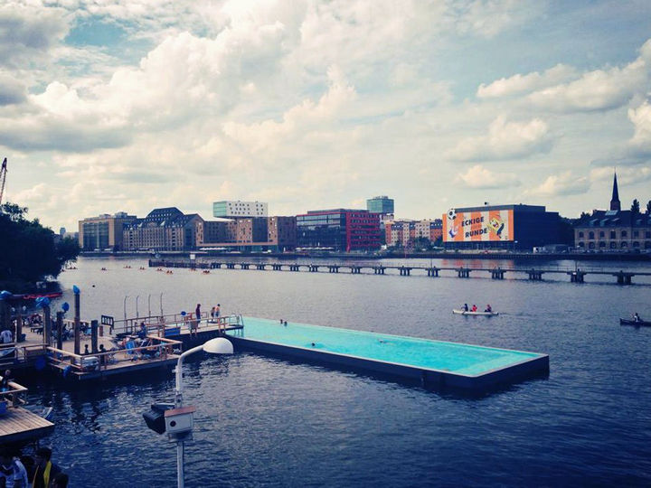 35 Epic Swimming Pools From Around the World - Arena Badeschiff's swimming pool in Berlin.