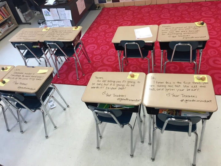 She wrote the messages using a dry-erase marker so that they could be wiped off before the testing began.