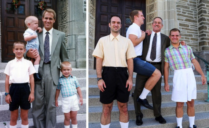 11 Then and Now Photos - Three brothers who still love hanging out with their dad.