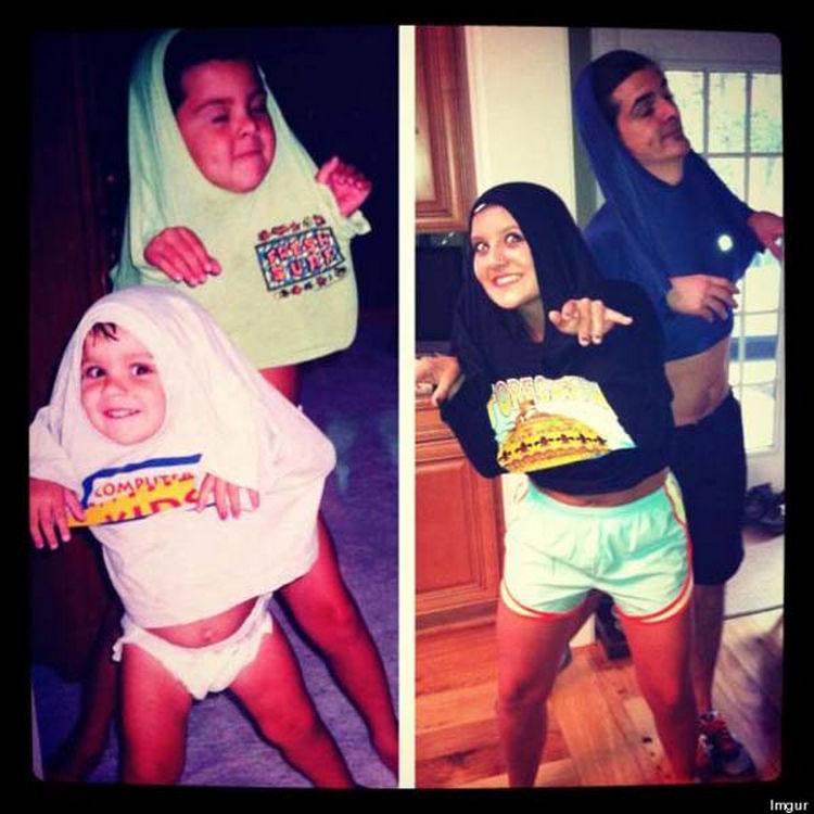11 Then and Now Photos - Brother and sister showing off how to properly wear a t-shirt.