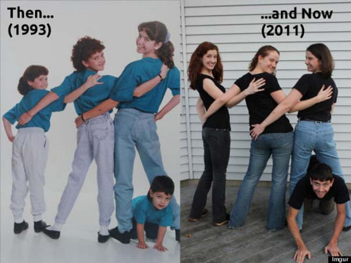 11 Then and Now Photos - Styles have changed but these sisters and their brother are still close as ever.
