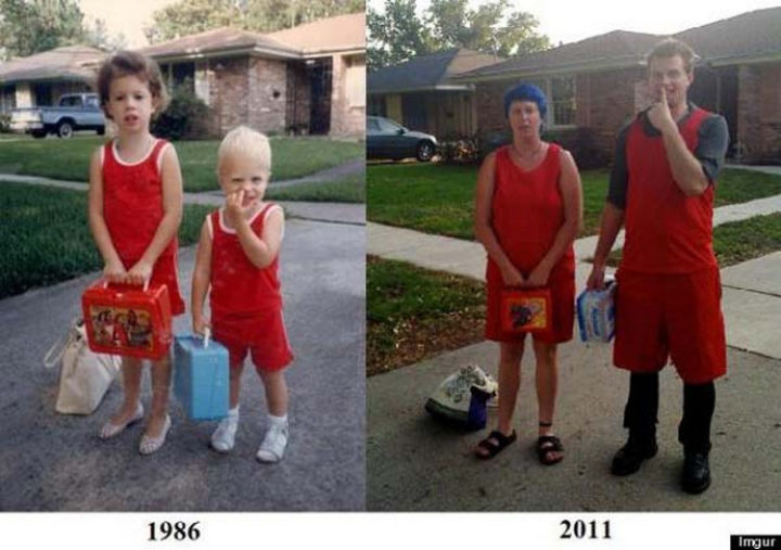 11 Then and Now Photos - A little bored while waiting for the school bus.