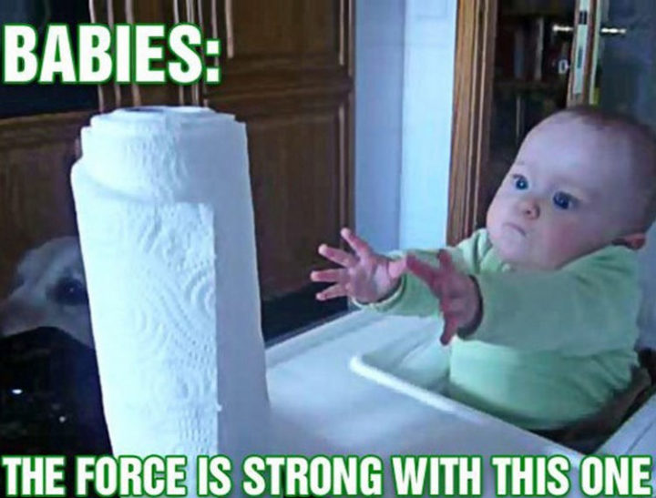 23 Funny Baby Memes That Are Adorably Cute - Use the force baby.