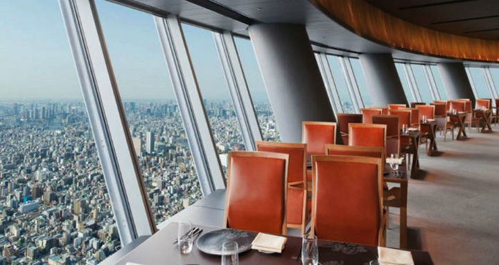 39 Amazing Restaurants With a View - Sky Restaurant 634 in Tokyo, Japan.