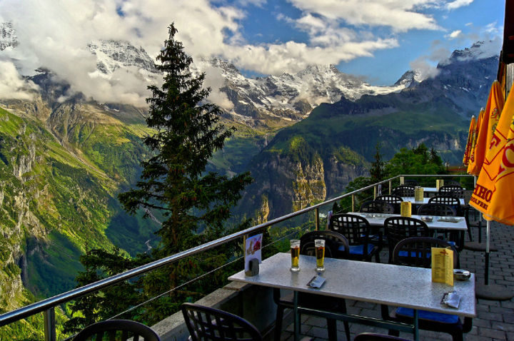 39 Amazing Restaurants With a View - Hotel Edelweiss in Mürren, Switzerland.
