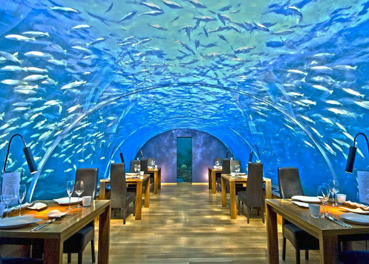 39 Amazing Restaurants With a View - Ithaa Undersea Restaurant in Rangali Island, Maldives.